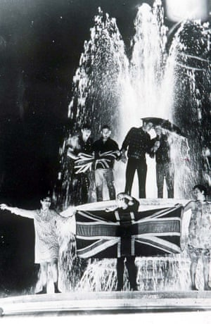 England fans celebrate winning the World Cup in the fountains of London's Trafalgar Square in 1966.