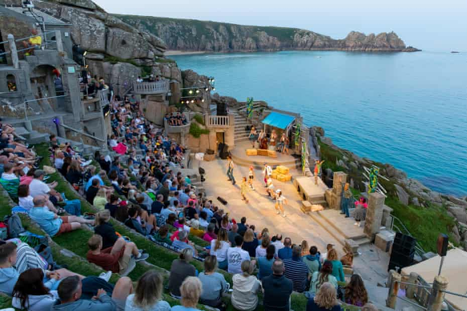 A performance of The Winter's Tale by OVO at Minack Theatre in Cornwall