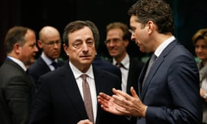 ECB president Mario Draghi and Eurogroup president Jeroen Dijsselbloem talk at the start of today's meeting of eurozone finance ministers.