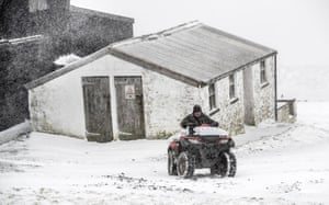 North Pennines, England A farmer works in a blizzard