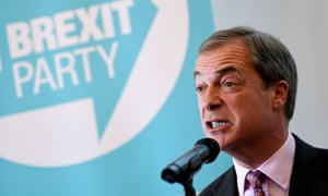 Nigel Farage at a Brexit party press conference in London.