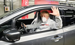 Prime Minister Boris Johnson during his visit to Nissan plant in Sunderland today.