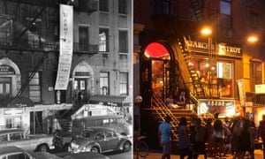 Left: a banner advertises Andy Warhol's Exploding Plastic Inevitable in 1966. Right: the same street today.