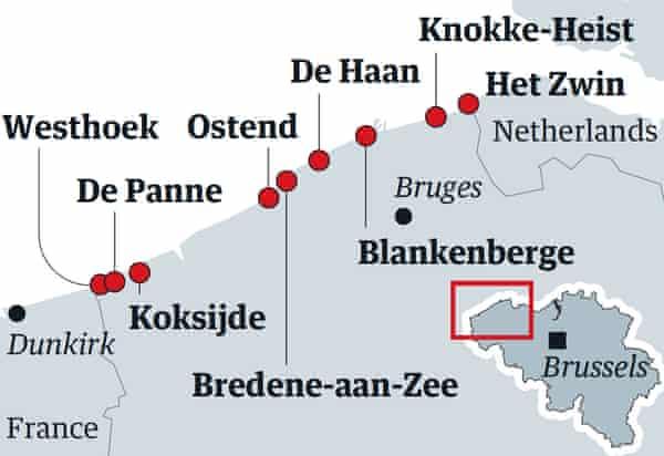 Belgium coast map