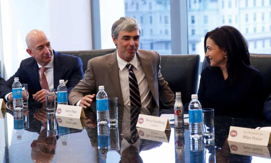 Sheryl Sandberg of Facebook, with Amazon's Jeff Bezos, and Alphabet's Larry Page, during a meeting at Trump Tower.
