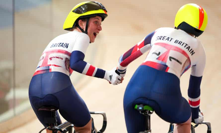Laura Kenny (left) and Katie Archibald won the Madison in style.