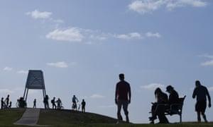People enjoy a sunny day in Melbourne, Australia, 14 September 2020.