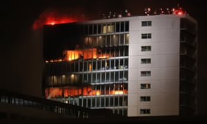 The Metro hotel in Ballymun, Dublin, which caught fire on Wednesday night.