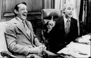 Harvey Milk (left) with the mayor George Moscone, who was also assassinated, in 1977.