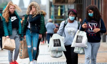 Shoppers on Princes Street, Edinburgh.