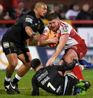 Sika Manu, seen here tackling Hull KR's Mitch Garbutt, earlier this month.