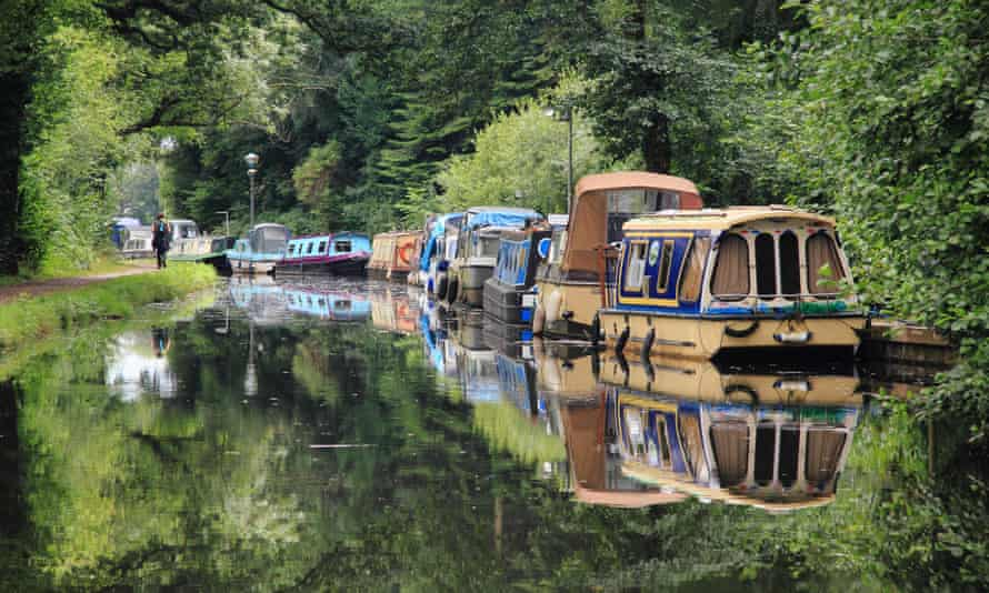 Narrowboats moored on the Monmouthshire and Brecon Canal