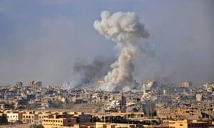 Smoke following airstrike in Deir ez-Zor