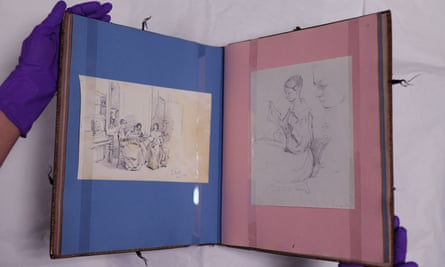 Florence Nightingale's family album, filled with paintings and drawings.