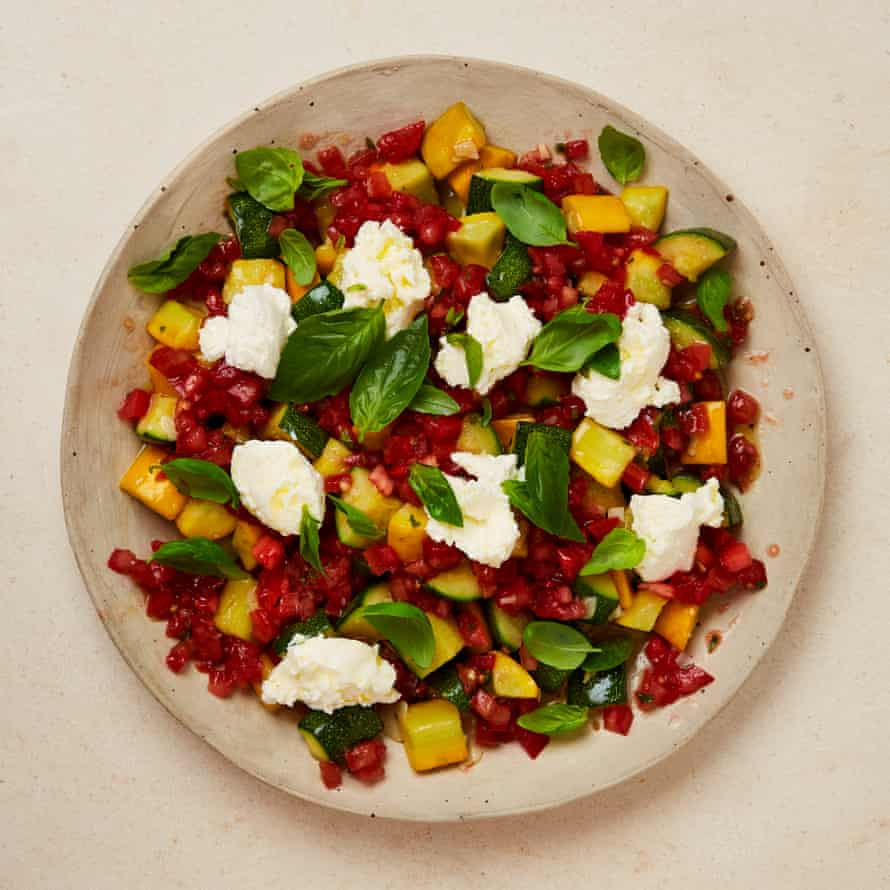 Yotam Ottolenghi's summer courgettes with tomatoes and ricotta.
