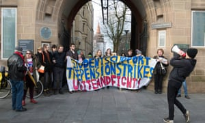 Students at Manchester University supporting a university staff striking over proposed changes to pensions