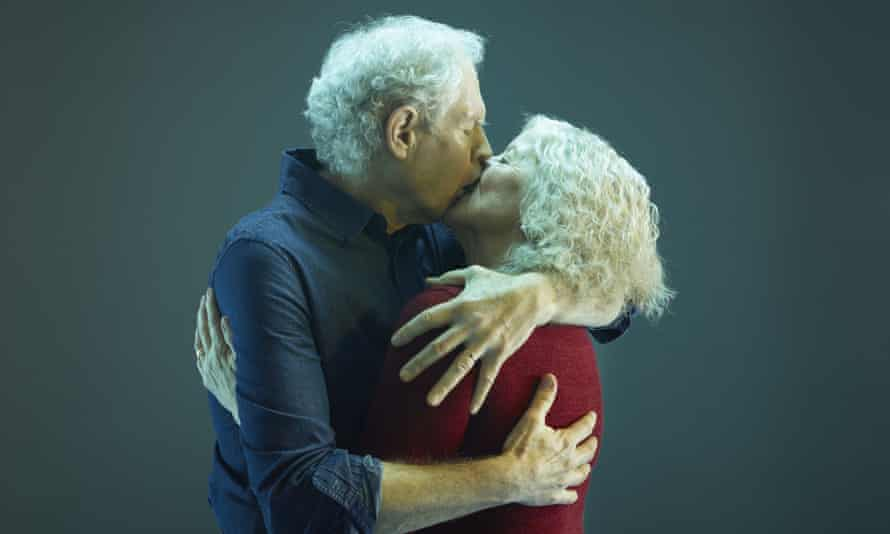 Older couple kissing