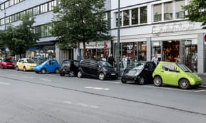 Electric cars parked in Oslo