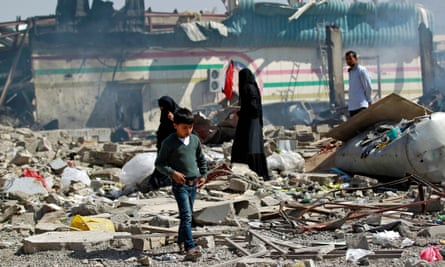 The aftermath of an air strike on a school and a bowling club in Sanaa, Yemen, in February 2016. 'By selling arms to Saudi Arabia, we violate British law.'