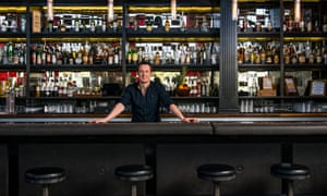 Owner, Ross Simon, stands behind the bar at Bitter & Twisted Cocktail Parlour, Phoenix, Arizona, US.