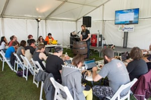 A virtual reality games workshop, held in a tent at BuzzConf 2016