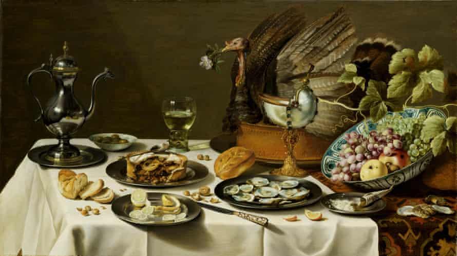 Still Life with a Turkey Pie, by Pieter Claesz, 1627.