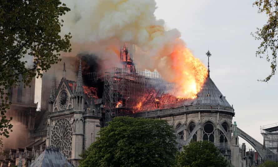 Flames on the roof of the cathedral.