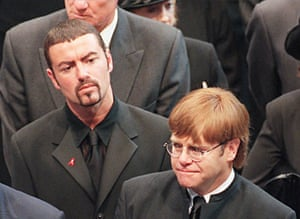 George Michael and Elton John leave Westminster Abbey following the funeral service of Diana, Princess of Wales on 6 September 1997.