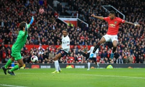 Marcus Rashford scores against Liverpool at Old Trafford in October 2019.