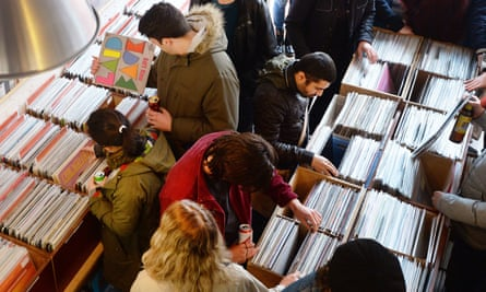 Shoppers browsing vinyl