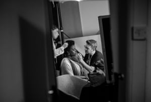 Comedienne Lolly Adefope in makeup backstage