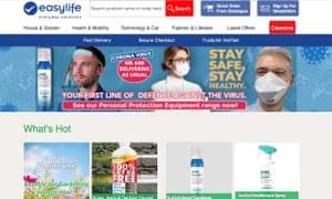 Easylife website offering protective face masks.