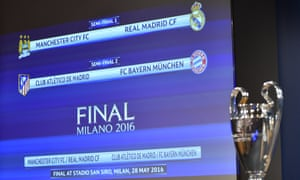 Champions League semi-final draw: Manchester City face Real