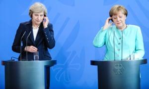 Theresa May and Angela Merkel in Berlin earlier this year.