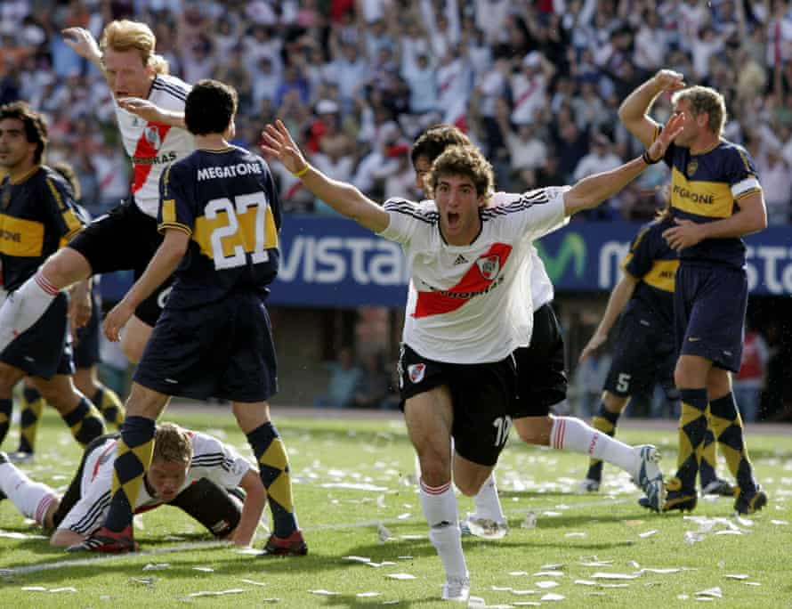 Higuaín celebrates after scoring for River Plate against Boca Juniors in Buenos Aires in 2006.