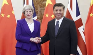 Theresa May visited Chinese president Xi Jinping in Beijing, February 2018.