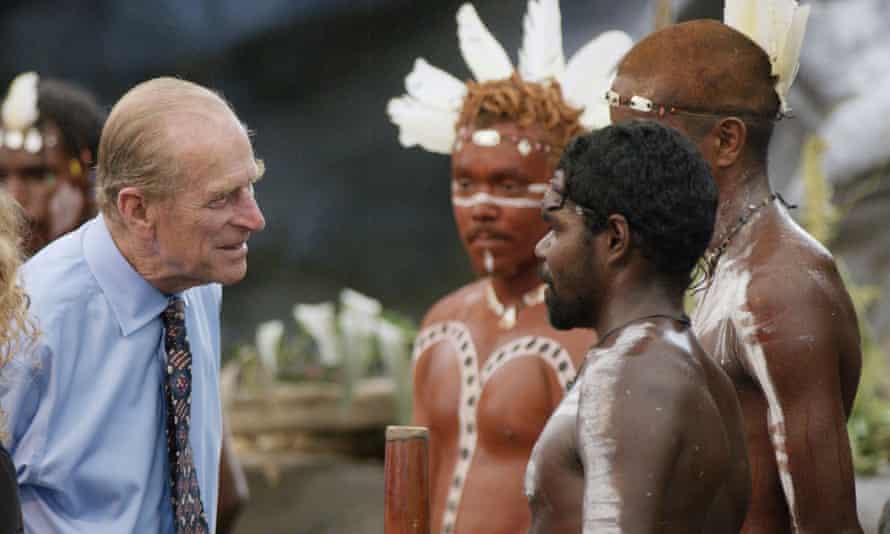 Prince Philip meeting Indigenous Australian cultural performers in 2002.