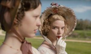 An eerily unblinking gaze … Anya Taylor-Joy as Emma.