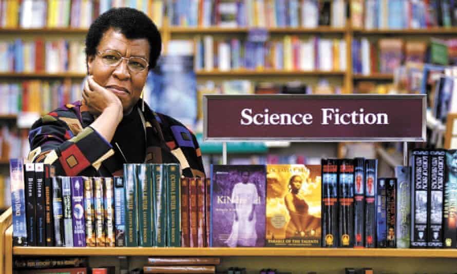 Octavia E Butler with some of her novels at University Book Store in Seattle, in 2004.