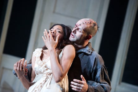 Harris and Jonny Lee Miller in Danny Boyle's Frankenstein at the National Theatre in 2011.