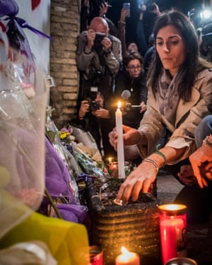 Mayor of Rome Virginia Raggi attends a ceremony in memory of Desiree Mariottini, the teenager murdered in San Lorenzo.