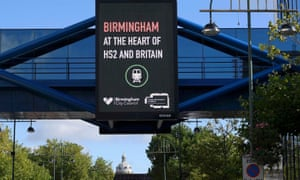 An electronic billboard promoting the HS2 transport link development