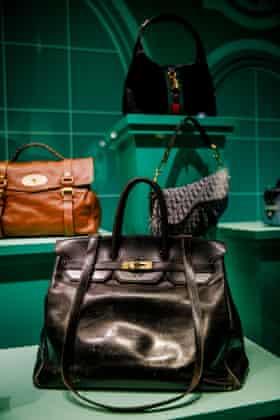 Jane Birkin's 'Birkin' bag by Hermès on display at the V&A, London.