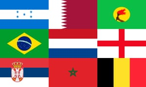A collection of World Cup flags.