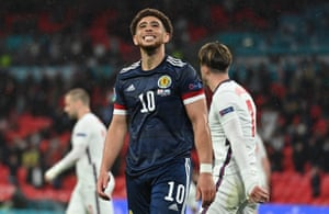 Che Adams of Scotland reacts after missing a chance.