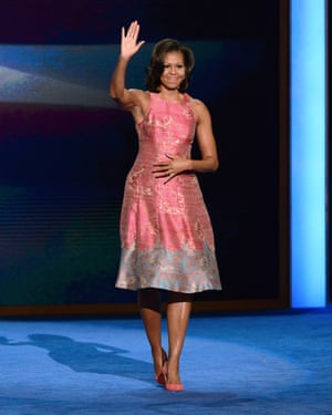Michelle Obama wearing Tracy Reese at the Democratic National Convention, Charlotte, North Carolina, 4 September 2012.