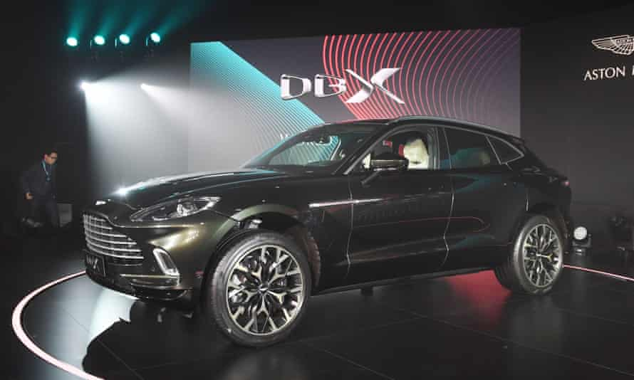 Aston Martin's DBX SUV is seen at its world premiere in Beijing.