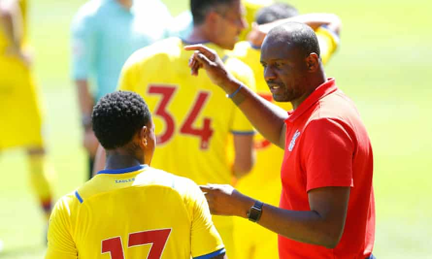 Patrick Vieira tries to get his message across during Crystal Palace's friendly against Walsall.