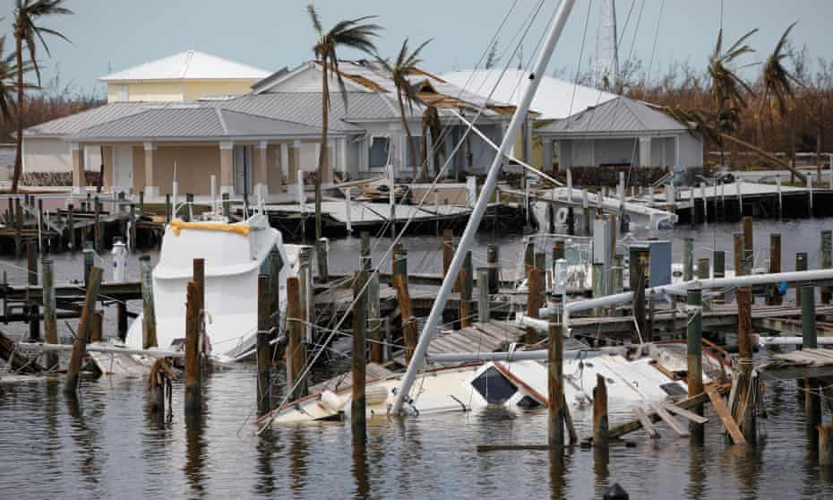 A view of stranded boats in a devastated marina after Hurricane Dorian hit the Abaco Islands in Treasure Cay, on 7 September.