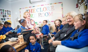 Grayson Perry and Dame Vivien Duffield meet children in the Clore Art Room, London.